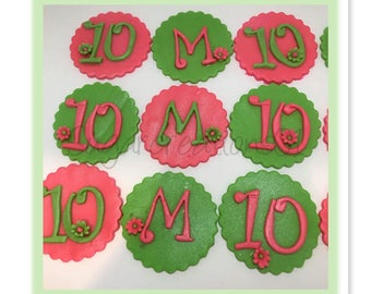 Fondant letter and number cupcake topper(12)