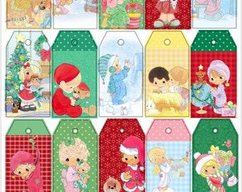 Precious Moments Gift Tags , Christmas , Holidays , Winter , Snow , Caring , Sharing , Love