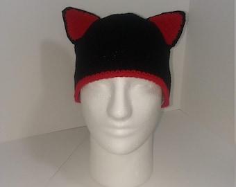 Black Cat Hat/Halloween/Adult/Winter/Crochet