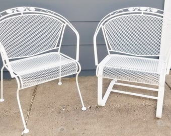 "Vintage Woodard ""Daisy Bouquet "" Wrought Iron Barrel Back Patio Chairs"