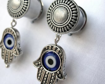 Pair of Antique Silver Plugs with Hamsa Hand & Blue Evil Eye Charms - 0g, 00g (8mm, 10mm) - Unique Dangle Gauges