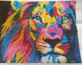 Rainbow Lion - completed counted cross stitch