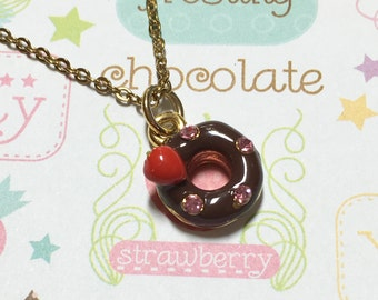 Kawaii Strawberry Chocolate Donut Golden Necklace, Dessert Necklace, Cake Necklace, Sweet Necklace, Cute Necklace, Cute Gift, Christmas Gift