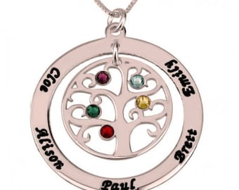 Family Tree Necklace With Names And Birthstones