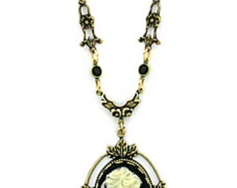 Handcrafted 24K Gold Plated Jet Black Crystal Vintage Victorian Style Cameo Necklace
