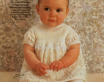 Baby dress tights Knitting Pattern pdf download Baby Girls Dress Tights Wrapover Vest 3 Ply Dress 3-6 months 3 Ply PDF instant download