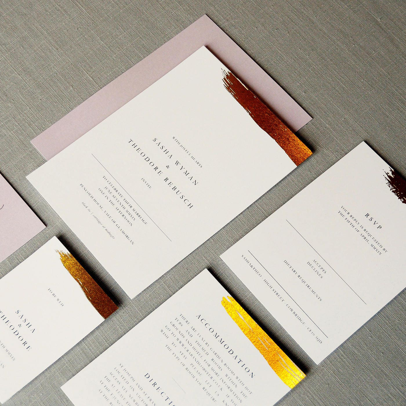 Antoinette Foil Wedding Invitations with Silver Gold or