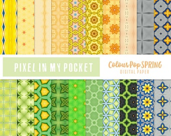 Yellow, Green & Grey Spring [Colour Pop] Digital Patterned Paper Pack [Instant Download]