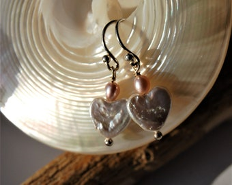 Zircon, freshwater pearl hearts and sterling silver earrings