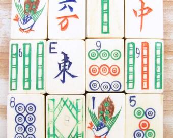 99 Bone & Bamboo Mah Jong Tiles