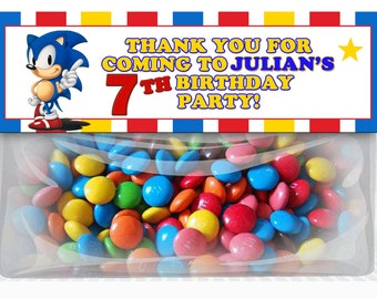 Sonic the Hedgehog Birthday Goodie Bag Toppers, Sonic the Hedgehog Party Favors, DIY Printables, Sega Sonic the Hedgehog Party Supplies