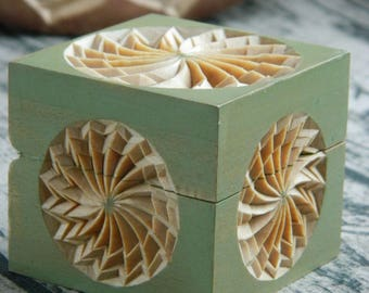 Carved Jewelry Box Rustic Home Decor 5th Anniversary Wedding Gift Basswood Small Storage Proposal Ring Box Wooden Box