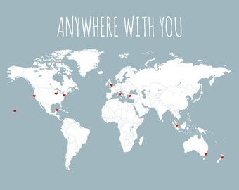 Husband Gift, World Map, Travel Map, DIY Gifts for Him, Anywhere With You, Boyfriend Gift, Couples Travel Map, Travel Decor, Romantic Gift