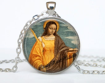 Saint Agatha medal - Patron of Women in danger, Foundry workers Nurses, against breast disease, Christian jewelry, Catholic pendant #8