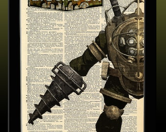 BioShock Inspired Big Daddy Dictionary Print 8x11