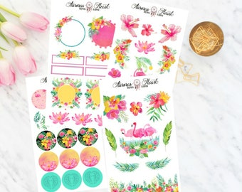 Tropical Flamingo Full Set Planner Stickers boho