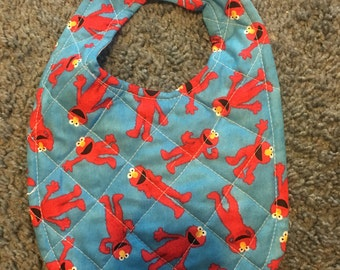 Hand and machine quilted Elmo patterened baby bib
