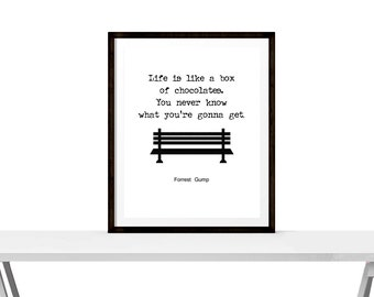 Life is like a box of chocolates, you never know what you're gonna get - Forrest Gump Quote - Instant Download