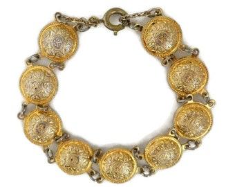Vintage Medallion Bracelet, Etched Link Bracelet, Goldtone Coin Link Bracelet, Unique Gift Idea For Her, Small Wrist Bracelet