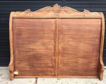 Solid Mahogany Rustic Sleigh King Head Board