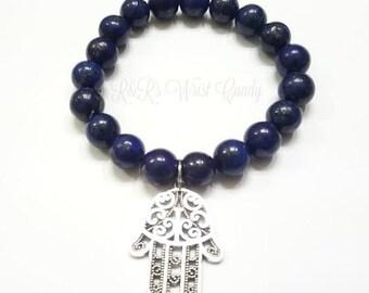 Lapis Gemstone Beaded Bracelet, Hamsa Bracelet, Protection, Yoga Bracelet, Zen, Handmade, Custom Beaded Jewelry