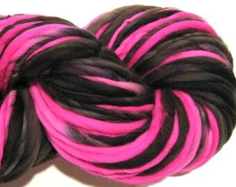 Handspun Yarn Boogie Nights 114 yards hot pink yarn black yarn hand dyed merino wool waldorf doll hair knitting supplies crochet supplies
