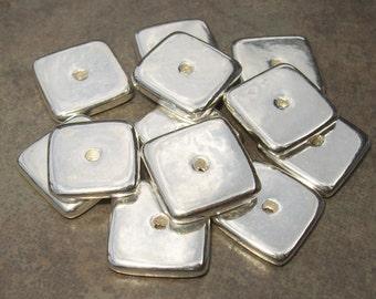 Mykonos Ceramic Silver Square Washer - 15mm (10)