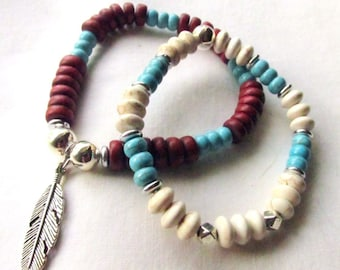Women's Beaded Stretch Bracelets - White Howlite & Turquoise Magnesite - Wood and Turquoise wFeather Charm - Choose One or Both