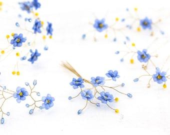 3262_Forget-me-not, Blue flower hair accessories, Wedding set, Bridal accessories, Groom accessories, Boutonniere, Flower crown Gold wedding