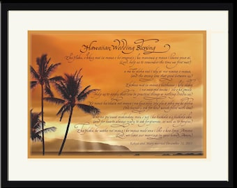 Unique personalized Hawaiian Wedding Gift with English Translation; custom photo choices! Destination wedding gift, engagement gift, framed