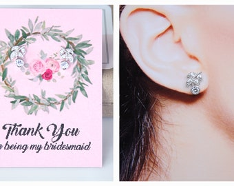 Bridesmaid Earrings Tiny Stud Earrings Cubic Zirconia Diamante Laurel Leaf Earrings Bridesmaid Jewelry Bridesmaid Gifts