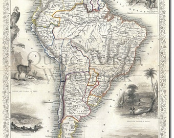Reproduction of a Vintage Map of South America from 1850- Fantastic Photo Poster Print - Old Archive Cartography