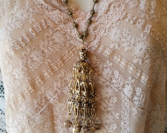 Long Tassel Necklace Layering Necklace Vintage Tassel Boho Necklace Bohemian Handmade Costume Jewelry Long Necklace Party Necklace Tassels