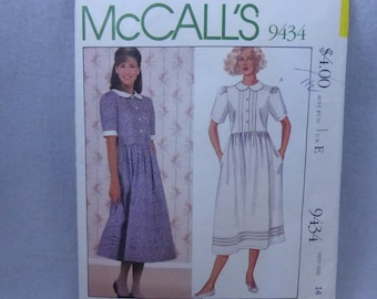Vintage McCall's Pattern 9434 Laura Ashley Dress Misses size 14 Factory Fold