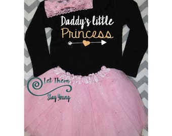 Daddy's little princess Tank or bodysuit Shirt Gold Baby Girl Clothes Baby Girl Shirt Hipster Baby Clothes Baby Gift White And Gold Sleeves