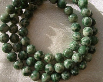Natural Tree Agate, 4mm round, 4mm gemstone beads, round beads, full strand, tree agate, green, white, gemstone beads, 4mm beads, gemstone