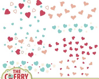 Scrapbooking Hearts Scatter Templates