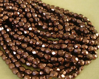 Fire Polished Round Glass Bead Coated Antique Copper Czech Beads, 4mm