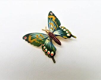 Vintage Butterfly Pin | Butterfly Brooch | Enamel Jewelry | Hand Painted Jewelry | Butterfly Jewelry | Free Shipping US