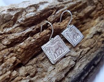 Pony horse square Sterling Silver dangel Earrings