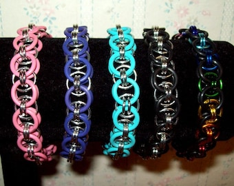 Chainmaille Helm Weave Stretchy Bracelet, EPDM Rubber and Anodized Aluminum Chainmail Rings, Assorted Color Choices