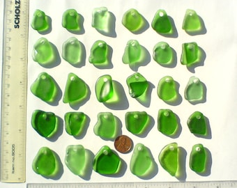 30 Large top drilled Genuine surf tumbled sea beach glass for jewelry 22-35 mm in length, green