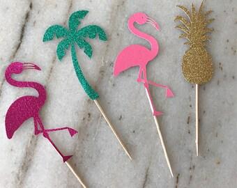 TROPICAL FLAMINGO Luau Pineapple ~ Palm Tree ~ Cupcake Toppers ~ Lets Flamingle ~