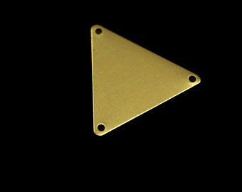 60 pcs 22x25 mm raw brass equilateral triangle tag 3 hole connector charms ,findings 926R