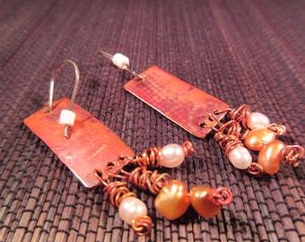 Boho Brass Pearl Earrings