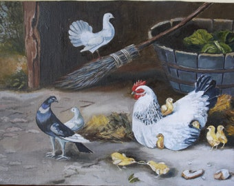 Poultry yard Original Oil painting handmade