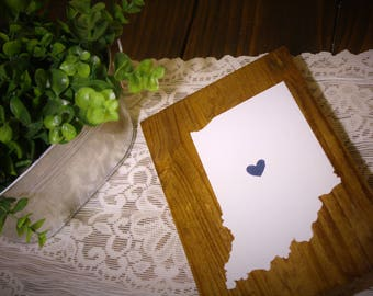 State Sign, Custom State Sign, State Wooden Sign, Painted Wood State Home Sign, Home is where the heart is, heart state sign, Home State