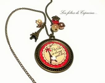 Large CABOCHON •TOUR EIFFEL• necklace