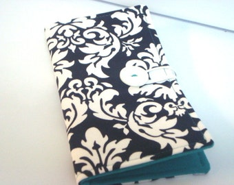 12 - 38 Slot Card Loyalty Card Organizer, Business Card Holder  Credit Card Wallet  Black and White Dandy Damask Turquoise Lining