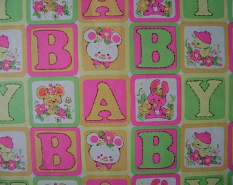 Vintage 1970s Gift Wrap for Baby--1 Sheet Wrapping Paper--Big Bright Baby Blocks